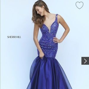 Sherri Hill Navy Blue Mermaid Prom Pageant 00